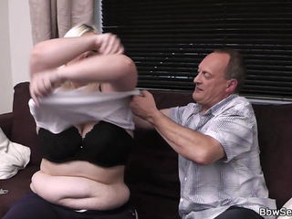 Fat-ass blonde plumper rides cock after pussy licking