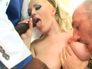 Awesome glamorous blonde and two big dicks