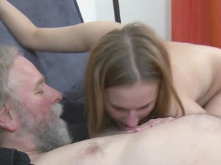 Busty babe Sarah is sucking that old dick