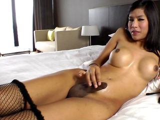 Faketit brunette ladyboy Nat fucks with a dildo