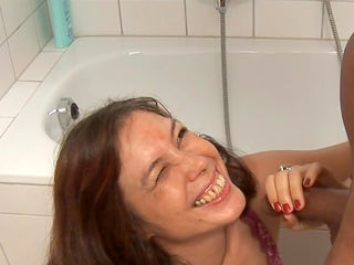 Mature Claudia R is swallowing with smile