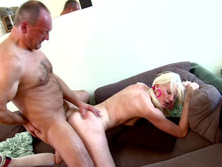 Teen blonde Lexi Lou fucks with old dick