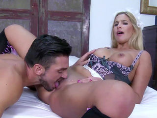 Skinny maid blonde Carol Ferrer fucks hard